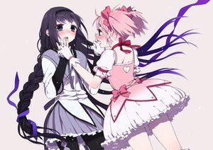 Rating: Safe Score: 40 Tags: 2girls akemi_homura black_hair blush bow braids choker dress gloves headband kaname_madoka mahou_shoujo_madoka_magica pantyhose pink_eyes pink_hair purple_eyes ribbons seifuku tears twintails User: Charly