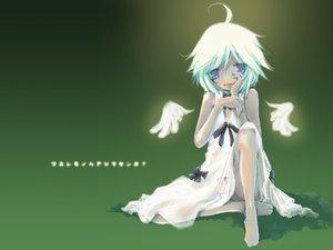 Rating: Safe Score: 7 Tags: barefoot blue_eyes dress green lost-ko ribbons short_hair sound_horizon summer_dress tagme_(artist) white_hair wings User: Oyashiro-sama
