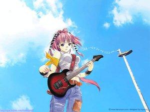 Rating: Safe Score: 4 Tags: guitar instrument sky tagme User: Oyashiro-sama