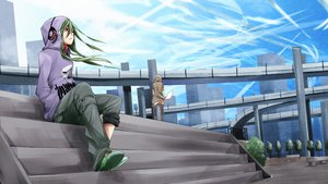 Rating: Safe Score: 123 Tags: fu-ta green_hair kagerou_project kido_tsubomi mekakushi_code_(vocaloid) red_eyes sky vocaloid User: FormX