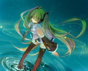 Rating: Safe Score: 55 Tags: green_hair hatsune_miku headphones long_hair skirt thighhighs tie twintails vocaloid water User: Tensa