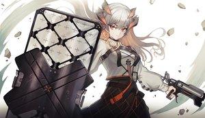 Rating: Safe Score: 77 Tags: akira_(aristole) arknights gray_hair gun horns long_hair orange_eyes saria_(arknights) skirt weapon User: BattlequeenYume