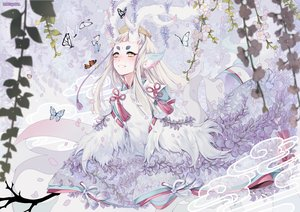 Rating: Safe Score: 69 Tags: all_male animal_ears blush butterfly crown feathers flowers horns japanese_clothes leaves long_hair male mia0309 onmyouji petals shishio_(onmyouji) watermark white_hair yellow_eyes User: otaku_emmy