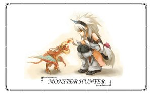 Rating: Safe Score: 95 Tags: armor brown_eyes elbow_gloves food gloves horns jpeg_artifacts kirin_(armor) long_hair monster_hunter thighhighs white_hair User: Eaglebeak