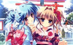 Rating: Safe Score: 140 Tags: 2girls blue_eyes blue_hair blush brown_hair izumi_tsubasu japanese_clothes kimono mashiroiro_symphony purple_eyes sena_airi uryu_sakuno User: Maho