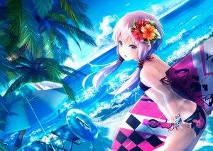 Rating: Safe Score: 168 Tags: ajigo ass beach bikini clouds long_hair purple_eyes purple_hair sky swimsuit tree twintails vocaloid voiceroid water wristwear yuzuki_yukari User: RyuZU