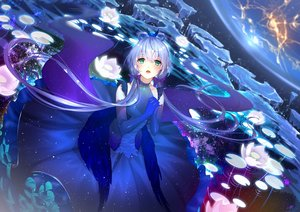Rating: Safe Score: 78 Tags: blue_hair bow catcan dress elbow_gloves gloves green_eyes jpeg_artifacts long_hair luo_tianyi planet space twintails vocaloid vocaloid_china water User: BattlequeenYume