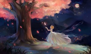 Rating: Safe Score: 50 Tags: barefoot brown_hair card_captor_sakura cherry_blossoms dress duximeng kinomoto_sakura moon night petals short_hair tree User: gnarf1975