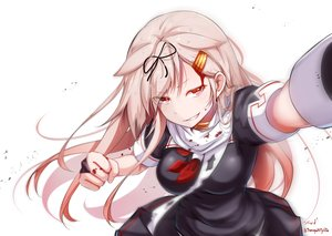 Rating: Safe Score: 49 Tags: anthropomorphism baileys_(tranquillity650) blonde_hair blood fang kantai_collection long_hair red_eyes school_uniform signed white yuudachi_(kancolle) User: RyuZU
