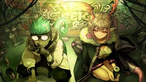 Rating: Safe Score: 23 Tags: aqua_hair arknights drink ethan_(arknights) gloves goggles graffiti ink. long_hair male manticore_(arknights) pink_eyes pink_hair pointed_ears smoking tail twintails User: Nepcoheart