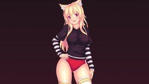 Rating: Safe Score: 100 Tags: animal_ears blonde_hair bloomers catgirl fast-runner-2024 gradient long_hair orange_eyes original thighhighs tiffy User: gnarf1975