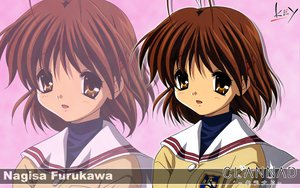 Rating: Safe Score: 9 Tags: brown_eyes brown_hair clannad furukawa_nagisa key logo seifuku short_hair zoom_layer User: Oyashiro-sama