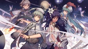 Rating: Safe Score: 32 Tags: butterfly dark_skin glasses green_hair group hat long_hair moon night orange_eyes short_hair sword weapon zicai_tang User: luckyluna