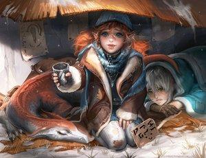 Rating: Safe Score: 98 Tags: blue_eyes collar dragon fang gloves gray_hair green_eyes long_hair orange_hair original pointed_ears sakimichan watermark User: opai