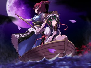 Rating: Safe Score: 68 Tags: 2girls boat flowers green_eyes green_hair hat jungetsu_hoko moon night onozuka_komachi red_eyes red_hair shiki_eiki short_hair touhou User: PAIIS
