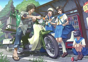 Rating: Safe Score: 39 Tags: drink manabu_adachi motorcycle original school_uniform User: FormX