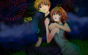 Rating: Safe Score: 18 Tags: brown_eyes brown_hair clouds fireworks grass green_eyes night sakura_(tsubasa) short_hair syaoran tsubasa_reservoir_chronicle User: Maboroshi