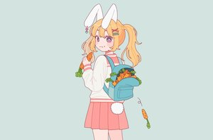 Rating: Safe Score: 53 Tags: animal_ears blue bunny_ears bunnygirl cat_smile food long_hair nokanok orange_hair original purple_eyes school_uniform skirt tail third-party_edit twintails User: otaku_emmy