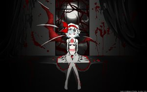 Rating: Safe Score: 152 Tags: barefoot blood dark dress food fruit moon red_eyes remilia_scarlet ribbons strawberry touhou vampire vector watermark white_hair wings User: gnarf1975