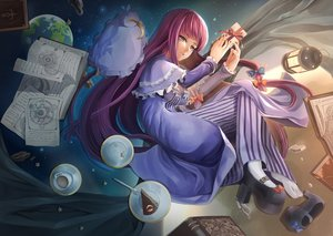 Rating: Safe Score: 100 Tags: book bow cake dress drink earth food hat long_hair paper patchouli_knowledge planet purple_eyes purple_hair rayxray stars touhou User: STORM