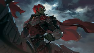 Rating: Safe Score: 22 Tags: all_male animal blanco026 cape clouds dark_skin ganondorf horse male red_eyes red_hair short_hair sky the_legend_of_zelda User: mattiasc02