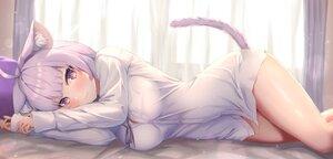 Rating: Safe Score: 53 Tags: animal_ears bed blush breasts catgirl cat_smile fang hololive nekomata_okayu purple_eyes purple_hair shirt tachibana_yuu tail User: BattlequeenYume