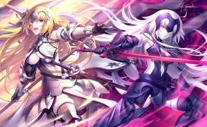 Rating: Safe Score: 136 Tags: armor blonde_hair boots breasts chain dress elbow_gloves fate/apocrypha fate/grand_order fate_(series) gloves headdress jeanne_d'arc_alter jeanne_d'arc_(fate) kousaki_rui purple_eyes signed thighhighs white_hair User: RyuZU