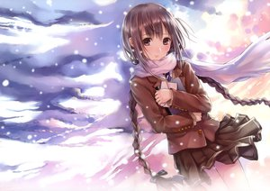 Rating: Safe Score: 191 Tags: brown_eyes brown_hair clouds kazuharu_kina long_hair original scarf seifuku sky snow twintails User: FormX