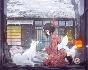 Rating: Safe Score: 238 Tags: animal black_hair fox japanese_clothes original short_hair snow takano_otohiko User: Wiresetc