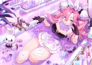 Rating: Safe Score: 32 Tags: animal apron aqua_eyes bath bathtub breasts bubbles cleavage flowers gloves headdress maid original pink_hair rabbit sa9no stockings waifu2x User: otaku_emmy