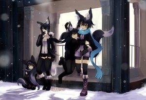Rating: Safe Score: 325 Tags: animal_ears catgirl foxgirl group nanako_(shiroganeusagi) original shiroganeusagi snow tail winter yellow_eyes User: HawthorneKitty