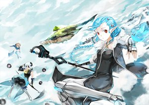 Rating: Safe Score: 132 Tags: animal aqua_hair bird blonde_hair boots bow braids cape clouds elbow_gloves eyepatch gloves green_eyes horns long_hair original pixiv_fantasia pointed_ears ponytail red_eyes saberiii scythe short_hair skirt sky snow staff stars tree weapon white_hair User: ガラス