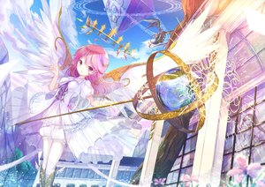 Rating: Safe Score: 55 Tags: 2girls clouds crown dragon dress fire flowers long_hair negimapurinn original pink_eyes pink_hair ponytail sky tree wings User: luckyluna