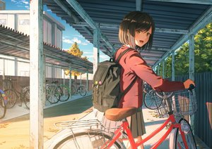 Rating: Safe Score: 264 Tags: bicycle brown_hair building city clouds jpeg_artifacts k_ryo original scenic school_uniform short_hair skirt sky yellow_eyes User: Fepple