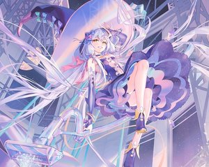Rating: Safe Score: 102 Tags: atdan blue_hair boots choker cropped dress elbow_gloves gloves hat long_hair planet stars twintails vocaloid witch witch_hat wristwear xingchen yellow_eyes User: otaku_emmy