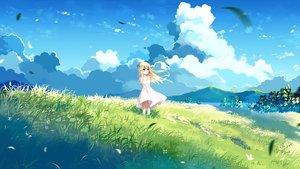 Rating: Safe Score: 42 Tags: blonde_hair clouds dress grass green_eyes long_hair original sky xia_xiang_(ozicha) User: RyuZU