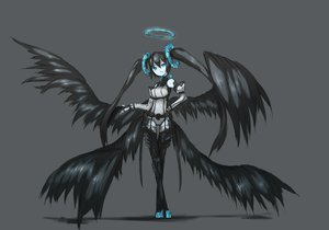 Rating: Safe Score: 121 Tags: black_hair black_rock_shooter blue_eyes halo monochrome shiroganeusagi tagme wings User: w7382001