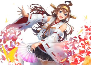 Rating: Safe Score: 35 Tags: anthropomorphism blush brown_hair butterfly fan flowers japanese_clothes kantai_collection kongou_(kancolle) konkito long_hair miko purple_eyes User: Stealthbird97