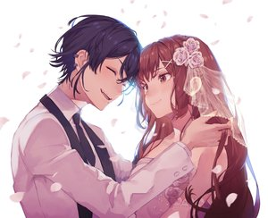 Rating: Safe Score: 25 Tags: 778-go black_hair elbow_gloves fang flowers gloves long_hair male original petals tie wedding wedding_attire User: mattiasc02