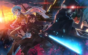 Rating: Safe Score: 133 Tags: bandage bike_shorts black_eyes black_hair blue_eyes blue_hair cape death_gun gloves gun gun_gale_online jpeg_artifacts kirigaya_kazuto lightsaber long_hair male mask red_eyes scarf shinon_(sao) short_hair shorts sword weapon yuuki_tatsuya User: Flandre93