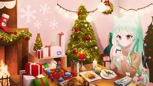 Rating: Safe Score: 25 Tags: animal_ears christmas original re-leaf User: Dreista