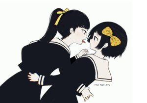 Rating: Safe Score: 19 Tags: 2girls ayu_(mog) black_eyes black_hair bow hug kanabun_(shoujo_tsubaki) long_hair midori_(shoujo_tsubaki) polychromatic ponytail school_uniform short_hair shoujo_ai shoujo_tsubaki signed User: otaku_emmy