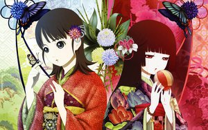 Rating: Safe Score: 40 Tags: butterfly enma_ai japanese_clothes jigoku_shoujo mikage_yuzuki oka_mariko red_eyes User: rargy