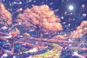 Rating: Safe Score: 48 Tags: bou_nin brown_hair japanese_clothes long_hair moon original petals scenic tree User: RyuZU
