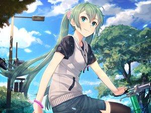 Rating: Safe Score: 66 Tags: bicycle clouds hatsune_miku hoodie itou_(onsoku_tassha) kneehighs long_hair skirt tree twintails vocaloid wristwear User: FormX