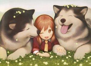 Rating: Safe Score: 33 Tags: animal brown_eyes brown_hair dog gayarou original scan tie twintails User: RyuZU