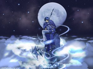Rating: Safe Score: 35 Tags: all_male blue blue_hair clouds male moon night scythe short_hair sky sleeping tagme watermark weapon User: Oyashiro-sama