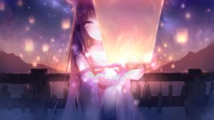 Rating: Safe Score: 76 Tags: animal_ears black_hair brown_eyes catgirl clouds dark dress futoshi_ame japanese_clothes long_hair night original signed sky tears User: BattlequeenYume