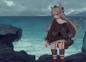Rating: Safe Score: 166 Tags: amatsukaze_(kancolle) anthropomorphism ass clouds gray_hair kantai_collection long_hair misoni_comi panties school_uniform thighhighs twintails underwear water User: Flandre93