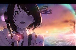 Rating: Safe Score: 87 Tags: akagi_asahito brown_eyes brown_hair close clouds kimi_no_na_wa miyamizu_mitsuha school_uniform short_hair sky sunset User: FormX
